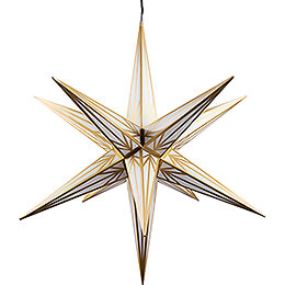 Hasslau Christmas Star  -  White with Golden Pattern and Lighting  -  75cm / 30 inch  -   Inside/Outside Use