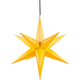 Hasslau Christmas Star  -  Yellow and Lighting  -  75cm / 30 inch  -   Inside/Outside Use