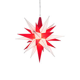 Herrnhuter Moravian Star A1e White/Red Plastic  -  13cm/5.1 inch