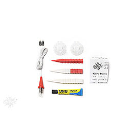Herrnhuter Moravian Star DIY Kit A1b White/Red Plastic  -  13cm/5.1 inch