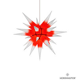 Herrnhuter Moravian Star I6 White with Red Core Paper  -  60cm / 23.6 inch