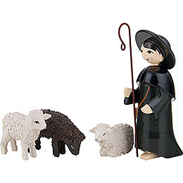 Hirte mit 3 Schafen farbig  -  7cm