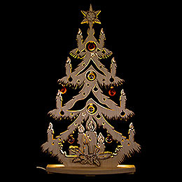 Light Triangle  -  Fir Tree with Balls Copper  -  38x72cm / 15x28.3 inch