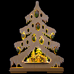 Light Triangle  -  Fir Tree with Deer, Green Glass Cones and White Frost  -  32x42cm / 12.6x16.5 inch