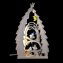 Light Triangle  -  Tree with Snowmen  -  43x25x4,5cm / 16.9x9.8x1.7 inch