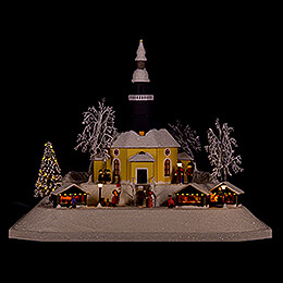 Lighted House Christmas Market, LED  -  26cm / 10.2 inch