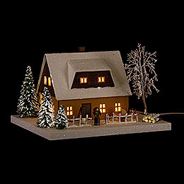 Lighted House Ore Mountains Home Ocherous  -  11,5cm / 4.5 inch