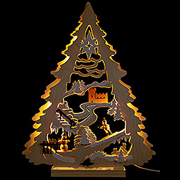 Ligt Triangle  -  Tree with Snowboarder  -  34x44cm / 13.4x17.3 inch