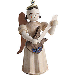 Long Pleated Skirt Angel with Electric Guitar SWAROVSKI ELEMENTS, Natural  -  6,6cm / 2.6 inch