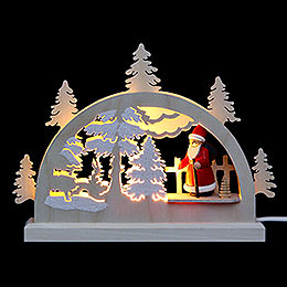 Mini LED Lightarch  -  Santa in Forest  -  23x15x4,5cm / 9x6x2 inch