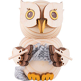 Mini Owl with Knitting  -  7cm / 2.8 inch