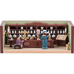 Miniaturstübchen Apotheke mit Apotheker  -  4cm