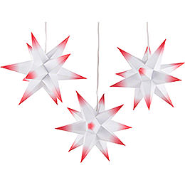 Moravian Star Set of Three  -  White - Red  -  incl. Lighting  -  17cm / 6.7 inch
