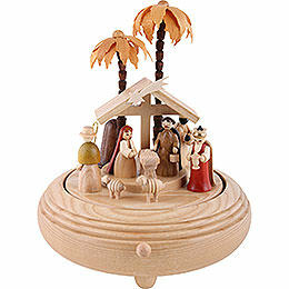 Music Box Nativity Scene Natural Wood  -  20cm / 8 inch