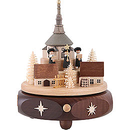 Music Box Seiffen Village with Carolers  -  17cm / 7 inch