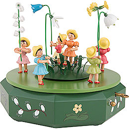 Music Box with Five Flower Children and Flower Meadow  -  21x18cm / 7.1 inch