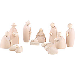 Nativity Set of 12 Pieces, Natural  -  12cm / 4.7 inch