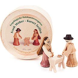 Nativity in Wood Chip Box  -  3cm / 1.2 inch