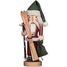 Nussknacker Weihnachtsmann mit Ski natur  -  39,5cm