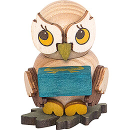 Owl Child with Present  -  4cm / 1.6 inch
