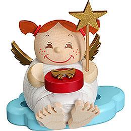 Räuchermännchen Engel mit Weihnachtsgeschenk  -  Kugelräucherfigur  -  12cm