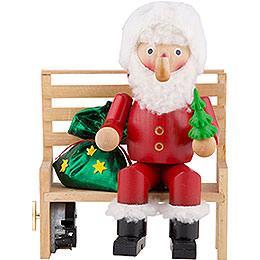 Räuchermännchen Herr Santa auf der Bank  -  22cm