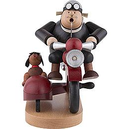 Räuchermännchen Motorradfahrer mit Beiwagen  -  21cm