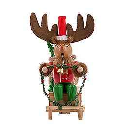 Räuchermännchen Rudolph mit Schlitten  -  25cm