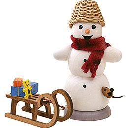 Räuchermännchen Schneemann mit Schlitten und Maus  -  13cm