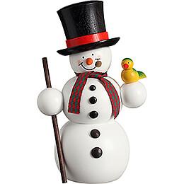 Räuchermännchen Schneemann mit Vogel   -  15cm
