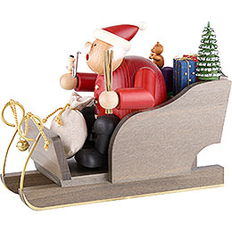 Räuchermännchen Weihnachtsmann auf Schlitten  -  20cm