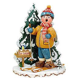 Räuchermännchen Winterkinder Schneeschuhfahrer  -  20cm