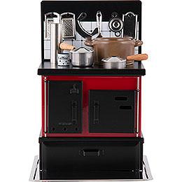 Räucherofen Küchenherd rot - schwarz  -  21cm