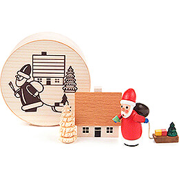 Santa Claus in Wood Chip Box  -  4cm / 1.6 inch