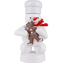 Schneemann Bäcker mit Pfefferkuchen - Frau  -  8cm