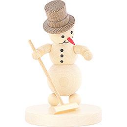 Schneemann Curlingspieler mit Besen  -  12cm