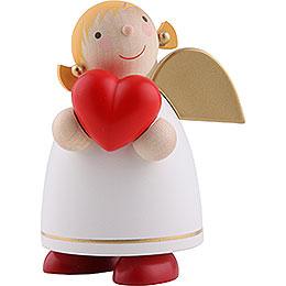 Schutzengel mit Herz, weiss  -  8cm