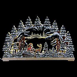 Schwibbogen Weihnachtsnacht handbemalt winterlich  -  62x38cm