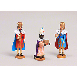 Seiffen Nativity  -  Three Magis  -  3 pieces  -  8cm / 3.1 inch