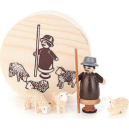 Shepherd in Wood Chip Box  -  4cm / 1.6 inch