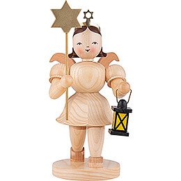 Shortskirt Angel Natural, with Lantern and Star  -  20cm / 7.8 inch
