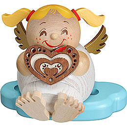 Smoker  -  Angel with Gingerbread  -  Ball Figure  -  10cm / 3.9 inch