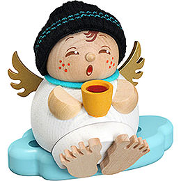 Smoker  -  Angel with Mulled Wine  -  Ball Figure  -  10cm / 3.9 inch