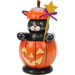 Smoker  -  Cat with Pumpkin  -  16,5cm / 6 inch