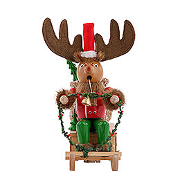 Smoker  -  Rudolph with Sleigh  -  25cm / 10 inch