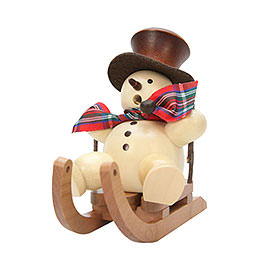 Smoker  -  Snowman on Sleigh Natural  -  10,5cm / 4 inch