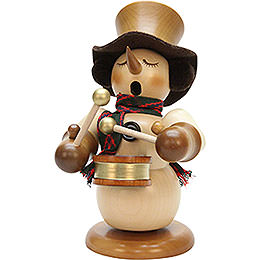 Smoker  -  Snowman with Drum Natur  -  Limited  -  23cm / 9.1 inch