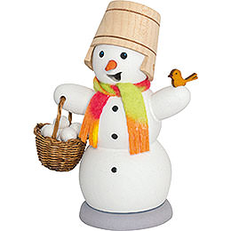 Smoker  -  Snowman with Snow Ball Bucket  -  13cm / 5.1 inch