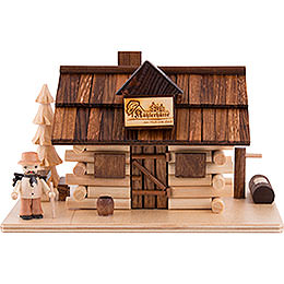 Smoking Hut  -  Charcoal Hut with Wood Worker and LED  -  10,5cm / 4 inch