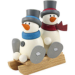 Snow Man Fritz and Otto with Sleigh  -  9cm / 3.5 inch